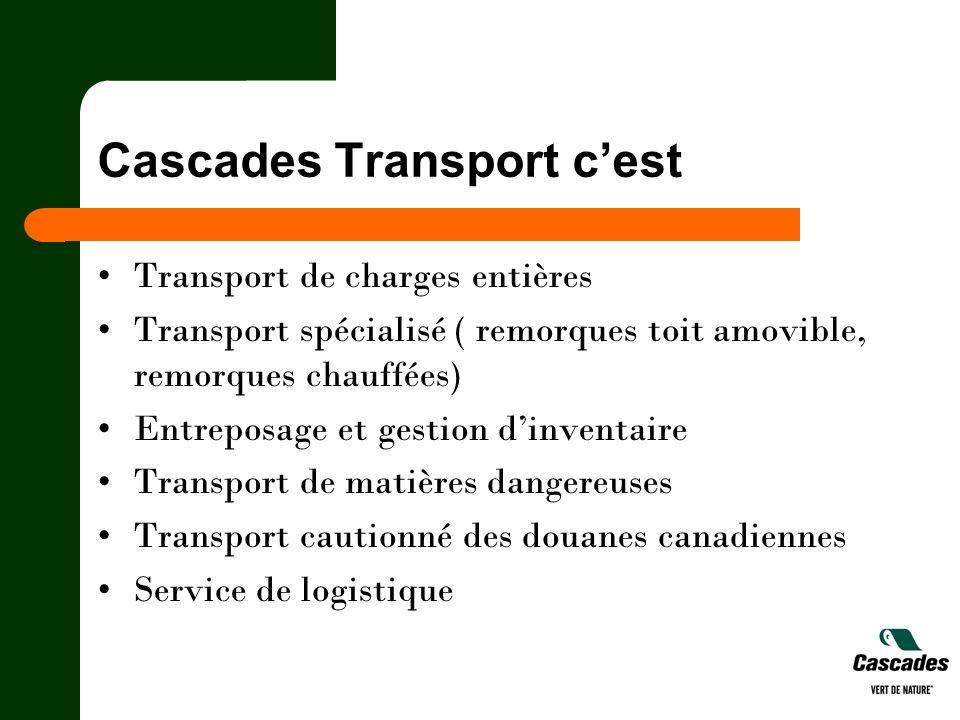 Cascades Transport cest Transport de charges entières Transport spécialisé ( remorques toit amovible, remorques chauffées) Entreposage et gestion dinv
