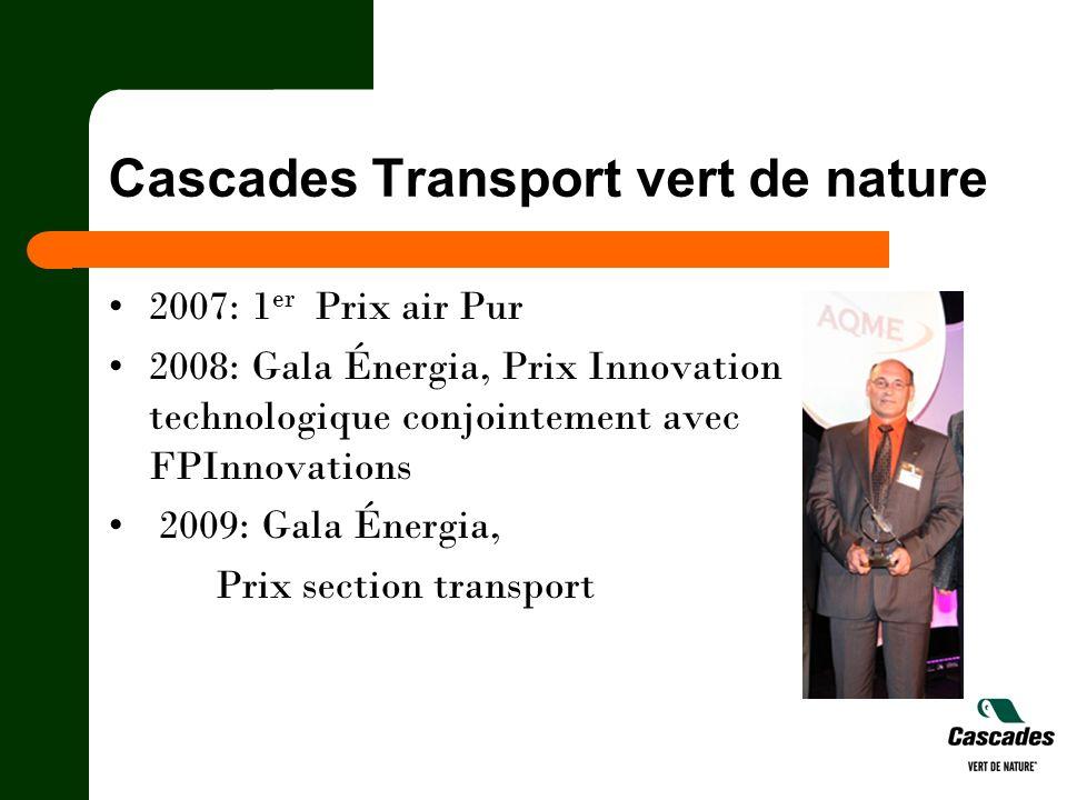 Cascades Transport vert de nature 2007: 1 er Prix air Pur 2008: Gala Énergia, Prix Innovation technologique conjointement avec FPInnovations 2009: Gal
