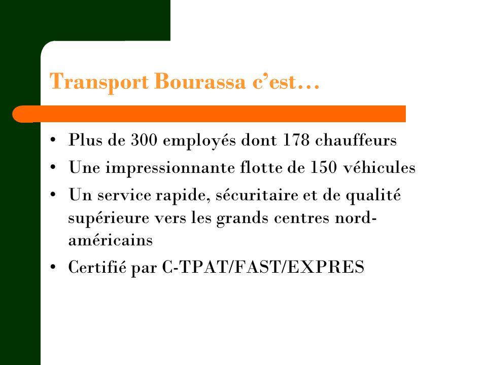 Transport Bourassa cest… Plus de 300 employés dont 178 chauffeurs Une impressionnante flotte de 150 véhicules Un service rapide, sécuritaire et de qua