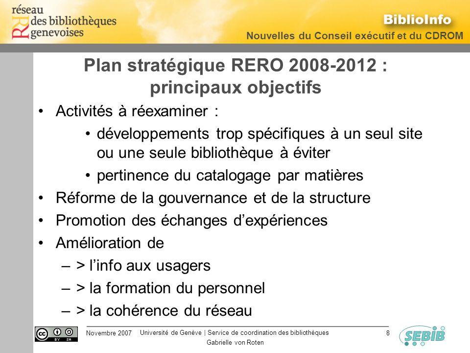 Université de Genève | Service de coordination des bibliothèques Nouvelles du Conseil exécutif et du CDROM Novembre 2007 Gabrielle von Roten 8 Plan st