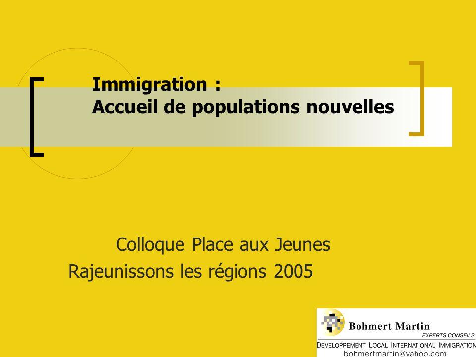 Immigration : Accueil de populations nouvelles Colloque Place aux Jeunes Rajeunissons les régions 2005
