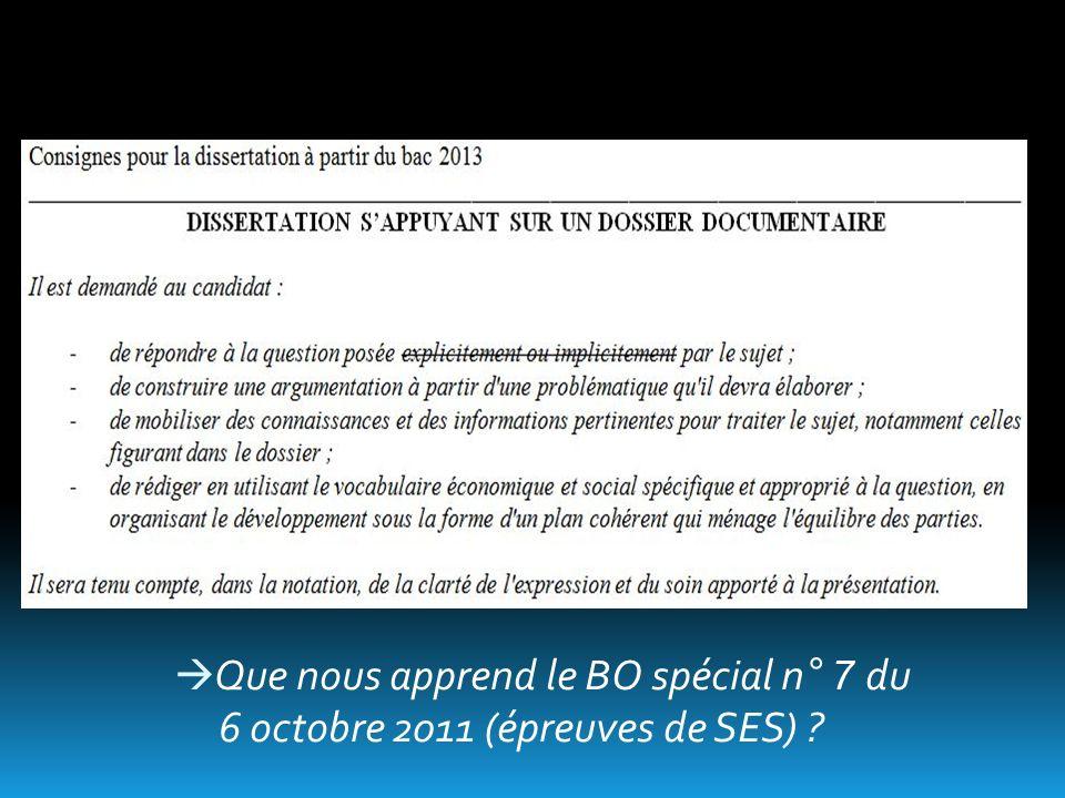 Que nous apprend le BO spécial n° 7 du 6 octobre 2011 (épreuves de SES)