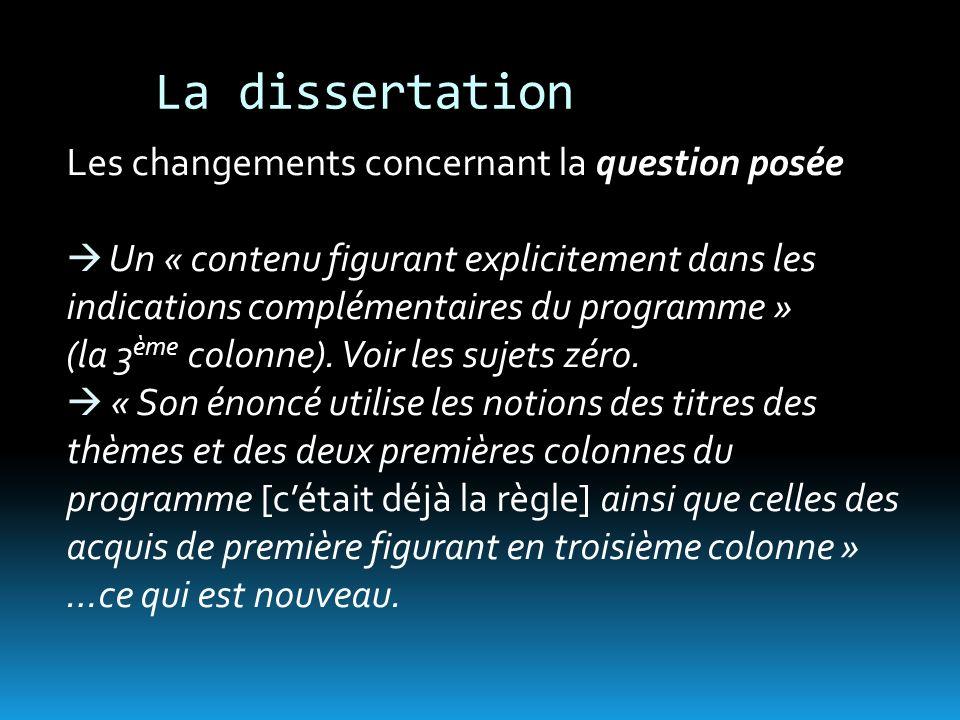 La dissertation Les changements concernant la question posée Un « contenu figurant explicitement dans les indications complémentaires du programme » (la 3 ème colonne).