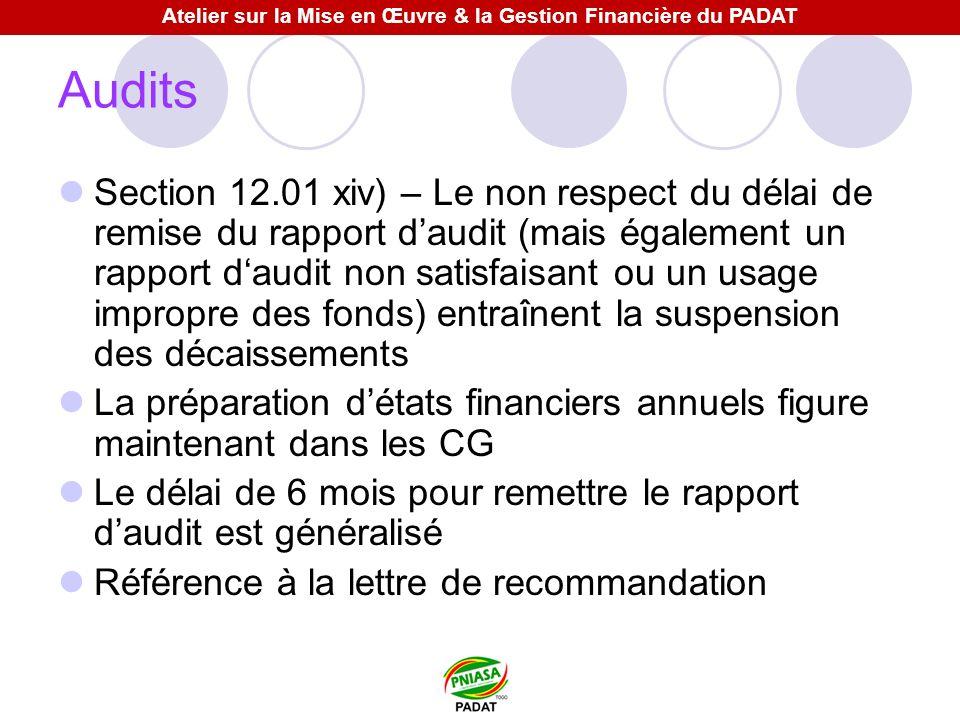 Audits Section 12.01 xiv) – Le non respect du délai de remise du rapport daudit (mais également un rapport daudit non satisfaisant ou un usage impropr