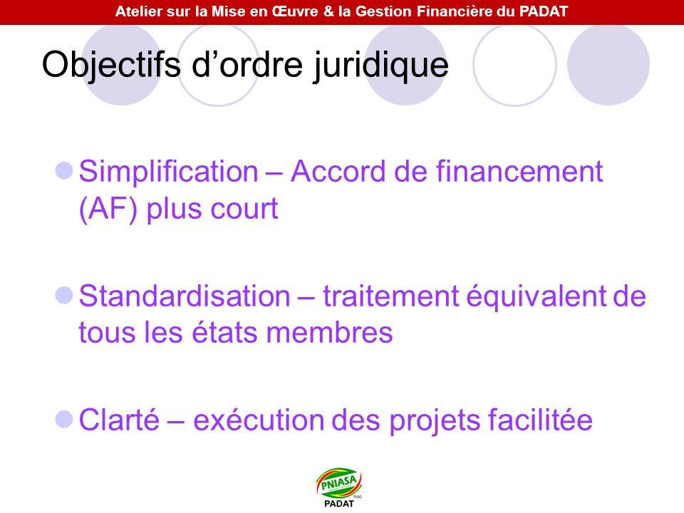 Objectifs dordre juridique Simplification – Accord de financement (AF) plus court Standardisation – traitement équivalent de tous les états membres Cl