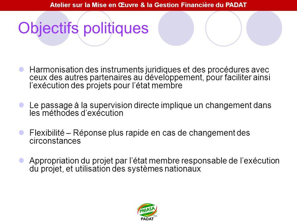 Objectifs politiques Harmonisation des instruments juridiques et des procédures avec ceux des autres partenaires au développement, pour faciliter ains