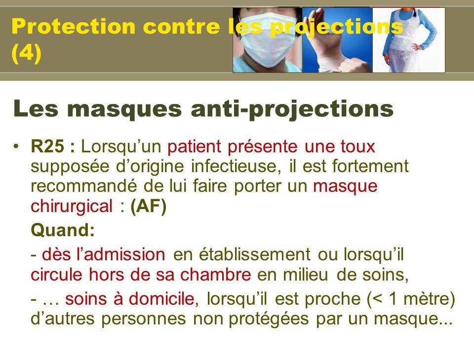 Les masques anti-projections R25 : Lorsquun patient présente une toux supposée dorigine infectieuse, il est fortement recommandé de lui faire porter u