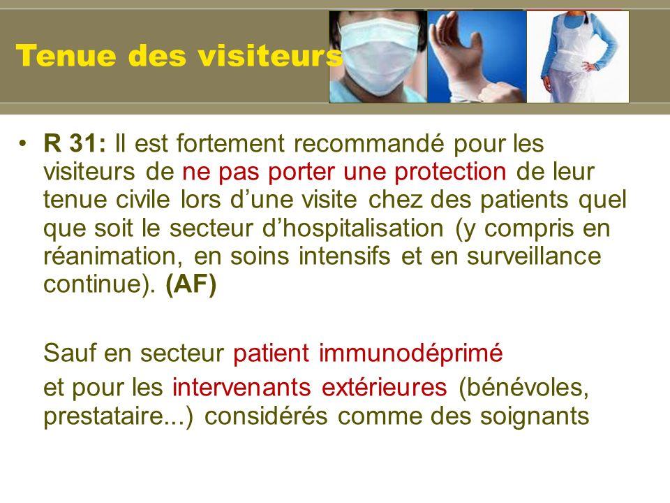 R 31: Il est fortement recommandé pour les visiteurs de ne pas porter une protection de leur tenue civile lors dune visite chez des patients quel que soit le secteur dhospitalisation (y compris en réanimation, en soins intensifs et en surveillance continue).