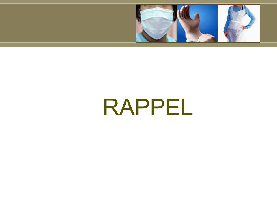 Les indications (2) R7 : Il est fortement recommandé de : (AF) retirer les gants dès la fin du soin avant de toucher lenvironnement, retirer les gants lorsque, dans une séquence de soins chez un même patient, lon passe dun site contaminé à un site propre du corps ou lorsque lon passe dun site contaminé à un autre site contaminé.