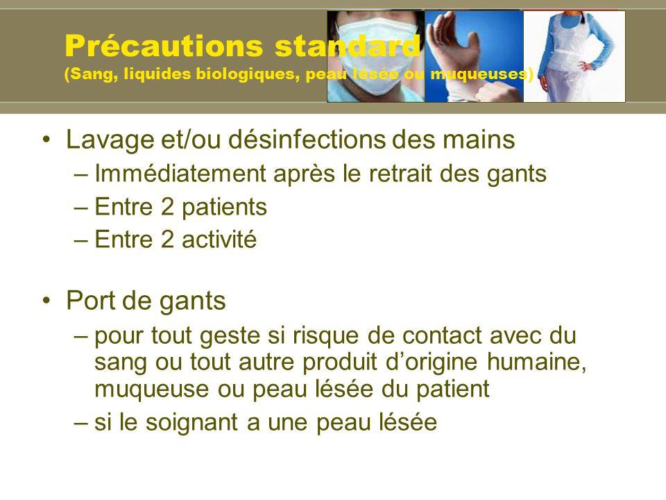 Lavage et/ou désinfections des mains –Immédiatement après le retrait des gants –Entre 2 patients –Entre 2 activité Port de gants –pour tout geste si r