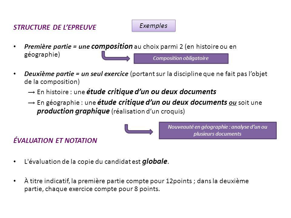 STRUCTURE DE LEPREUVE Première partie = une composition au choix parmi 2 (en histoire ou en géographie) Deuxième partie = un seul exercice (portant su
