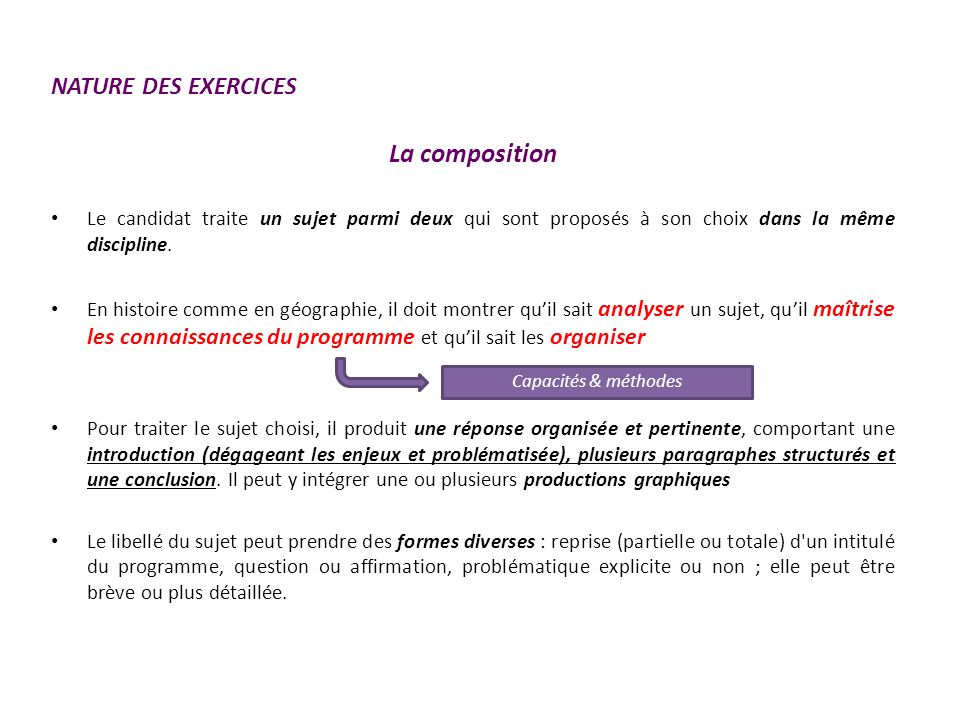 Sujet Baccalauréat HG 2013 Pour le sujet 1 = reprise de lintitulé dune mise en œuvre Pour le sujet 2 = reprise de lintitulé dune question