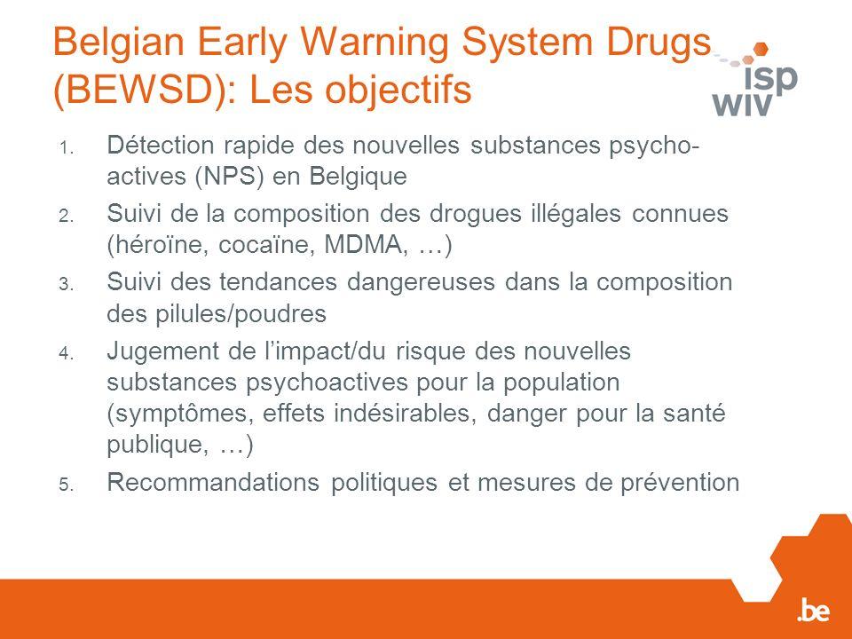 Belgian Early Warning System Drugs (BEWSD): Les objectifs 1.