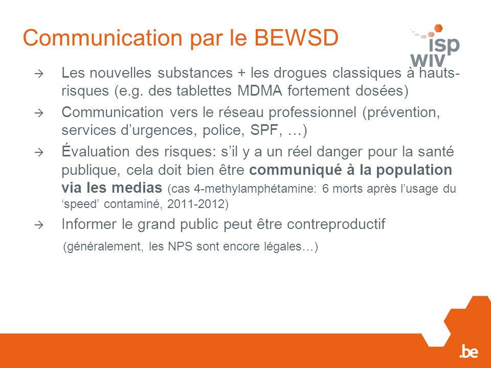 Communication par le BEWSD Les nouvelles substances + les drogues classiques à hauts- risques (e.g.