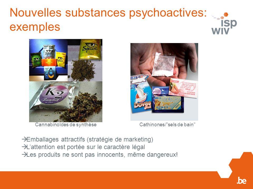 Nouvelles substances psychoactives: exemples Emballages attractifs (stratégie de marketing) Lattention est portée sur le caractère légal Les produits ne sont pas innocents, même dangereux.