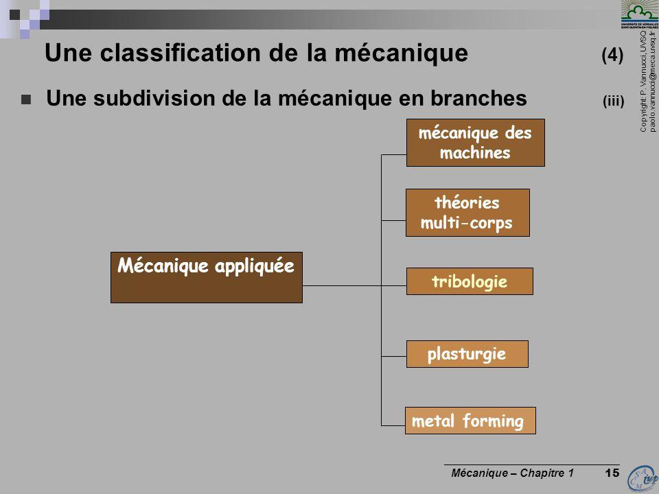 Copyright: P. Vannucci, UVSQ paolo.vannucci@meca.uvsq.fr ________________________________ Mécanique – Chapitre 1 15 Une classification de la mécanique