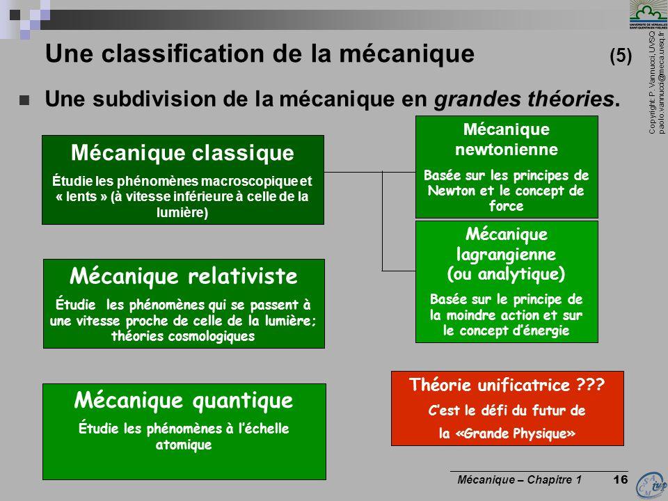 Copyright: P. Vannucci, UVSQ paolo.vannucci@meca.uvsq.fr ________________________________ Mécanique – Chapitre 1 16 Une classification de la mécanique