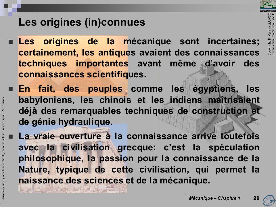 Copyright: P. Vannucci, UVSQ paolo.vannucci@meca.uvsq.fr ________________________________ Mécanique – Chapitre 1 20 Les origines (in)connues Les origi