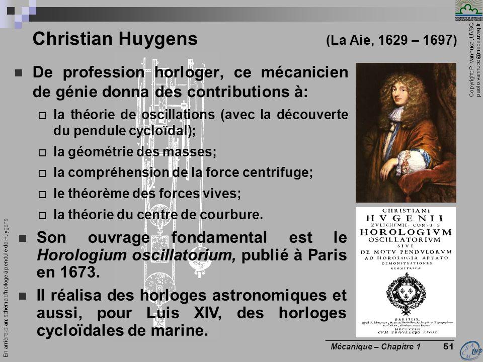 Copyright: P. Vannucci, UVSQ paolo.vannucci@meca.uvsq.fr ________________________________ Mécanique – Chapitre 1 51 Christian Huygens (La Aie, 1629 –