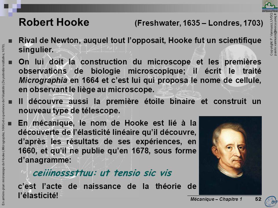 Copyright: P. Vannucci, UVSQ paolo.vannucci@meca.uvsq.fr ________________________________ Mécanique – Chapitre 1 52 Robert Hooke (Freshwater, 1635 – L