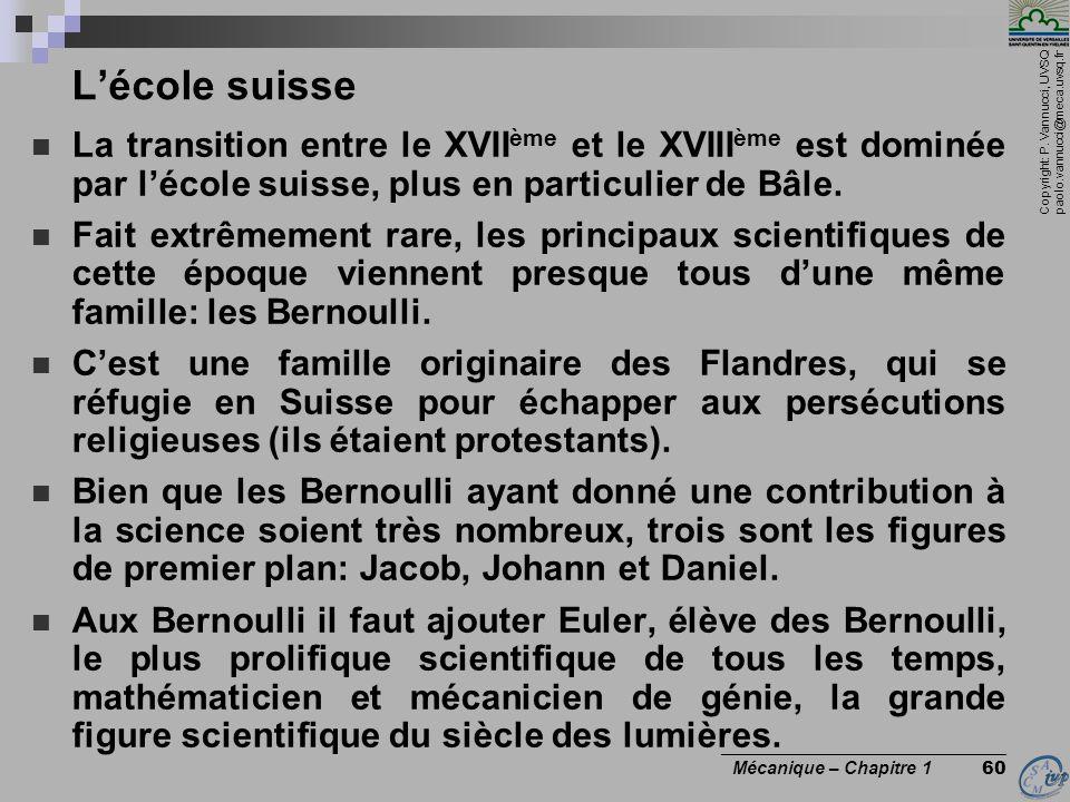 Copyright: P. Vannucci, UVSQ paolo.vannucci@meca.uvsq.fr ________________________________ Mécanique – Chapitre 1 60 Lécole suisse La transition entre