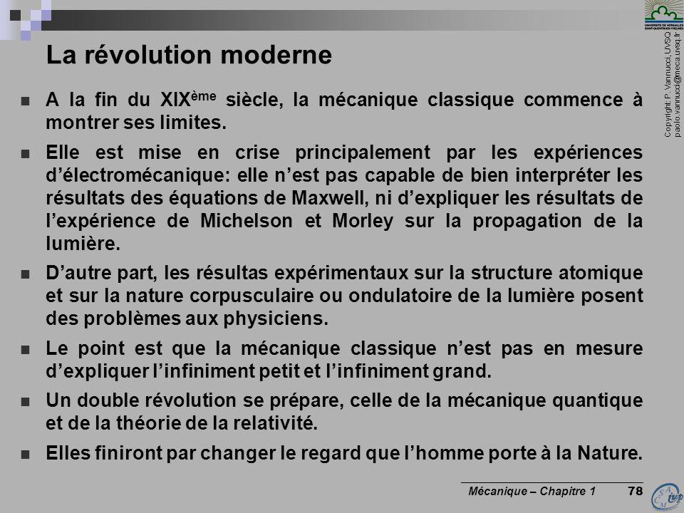 Copyright: P. Vannucci, UVSQ paolo.vannucci@meca.uvsq.fr ________________________________ Mécanique – Chapitre 1 78 La révolution moderne A la fin du