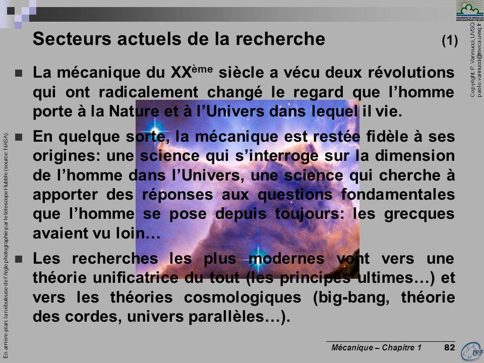Copyright: P. Vannucci, UVSQ paolo.vannucci@meca.uvsq.fr ________________________________ Mécanique – Chapitre 1 82 La mécanique du XX ème siècle a vé