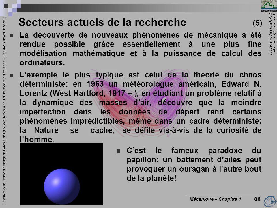Copyright: P. Vannucci, UVSQ paolo.vannucci@meca.uvsq.fr ________________________________ Mécanique – Chapitre 1 86 Secteurs actuels de la recherche (