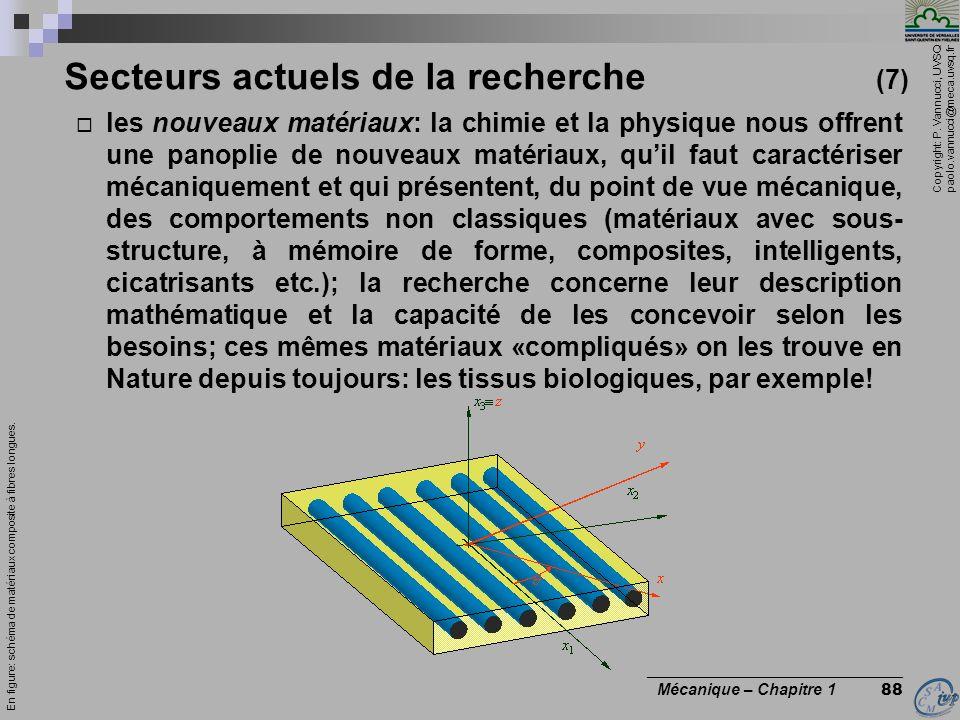 Copyright: P. Vannucci, UVSQ paolo.vannucci@meca.uvsq.fr ________________________________ Mécanique – Chapitre 1 88 Secteurs actuels de la recherche (
