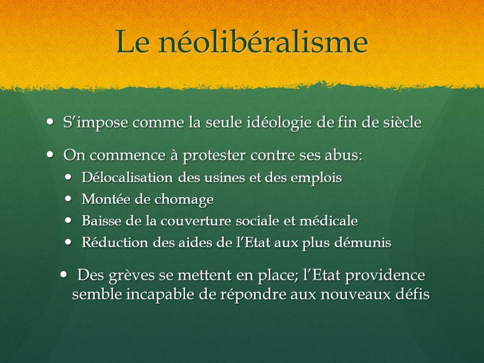 Le néolibéralisme Simpose comme la seule idéologie de fin de siècle Simpose comme la seule idéologie de fin de siècle On commence à protester contre s