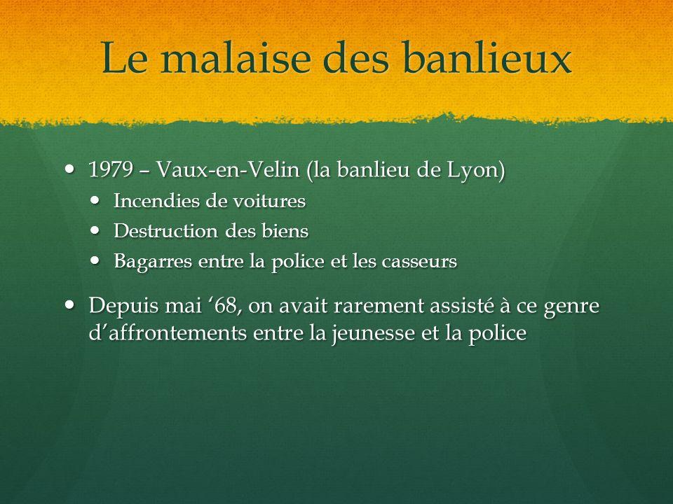Le malaise des banlieux 1979 – Vaux-en-Velin (la banlieu de Lyon) 1979 – Vaux-en-Velin (la banlieu de Lyon) Incendies de voitures Incendies de voiture