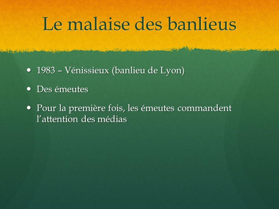 Le malaise des banlieus 1983 – Vénissieux (banlieu de Lyon) 1983 – Vénissieux (banlieu de Lyon) Des émeutes Des émeutes Pour la première fois, les éme
