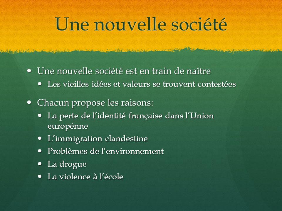 Une nouvelle société Une nouvelle société est en train de naître Une nouvelle société est en train de naître Les vieilles idées et valeurs se trouvent