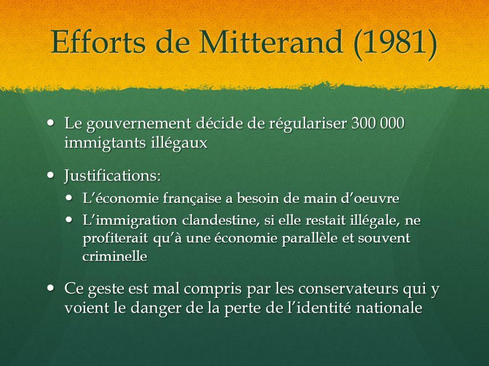 Efforts de Mitterand (1981) Le gouvernement décide de régulariser 300 000 immigtants illégaux Le gouvernement décide de régulariser 300 000 immigtants