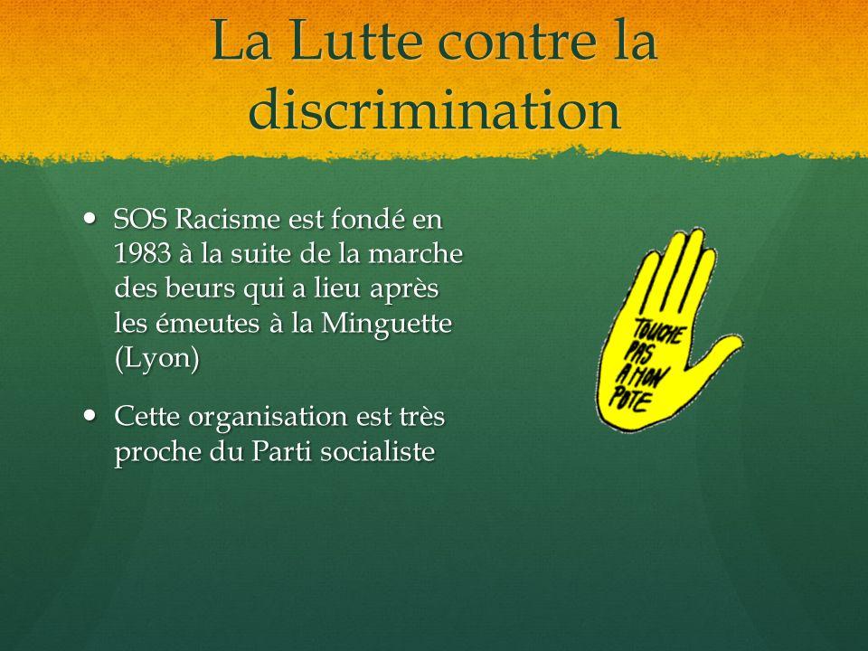 La Lutte contre la discrimination SOS Racisme est fondé en 1983 à la suite de la marche des beurs qui a lieu après les émeutes à la Minguette (Lyon) S