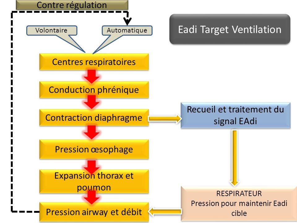 Centres respiratoires AutomatiqueVolontaire Conduction phrénique Contraction diaphragme Expansion thorax et poumon Pression œsophage Recueil et traite