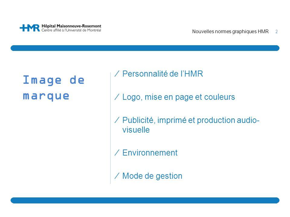 2 Image de marque Personnalité de lHMR Logo, mise en page et couleurs Publicité, imprimé et production audio- visuelle Environnement Mode de gestion