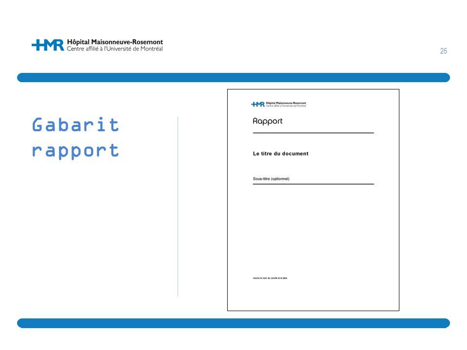 25 Gabarit rapport