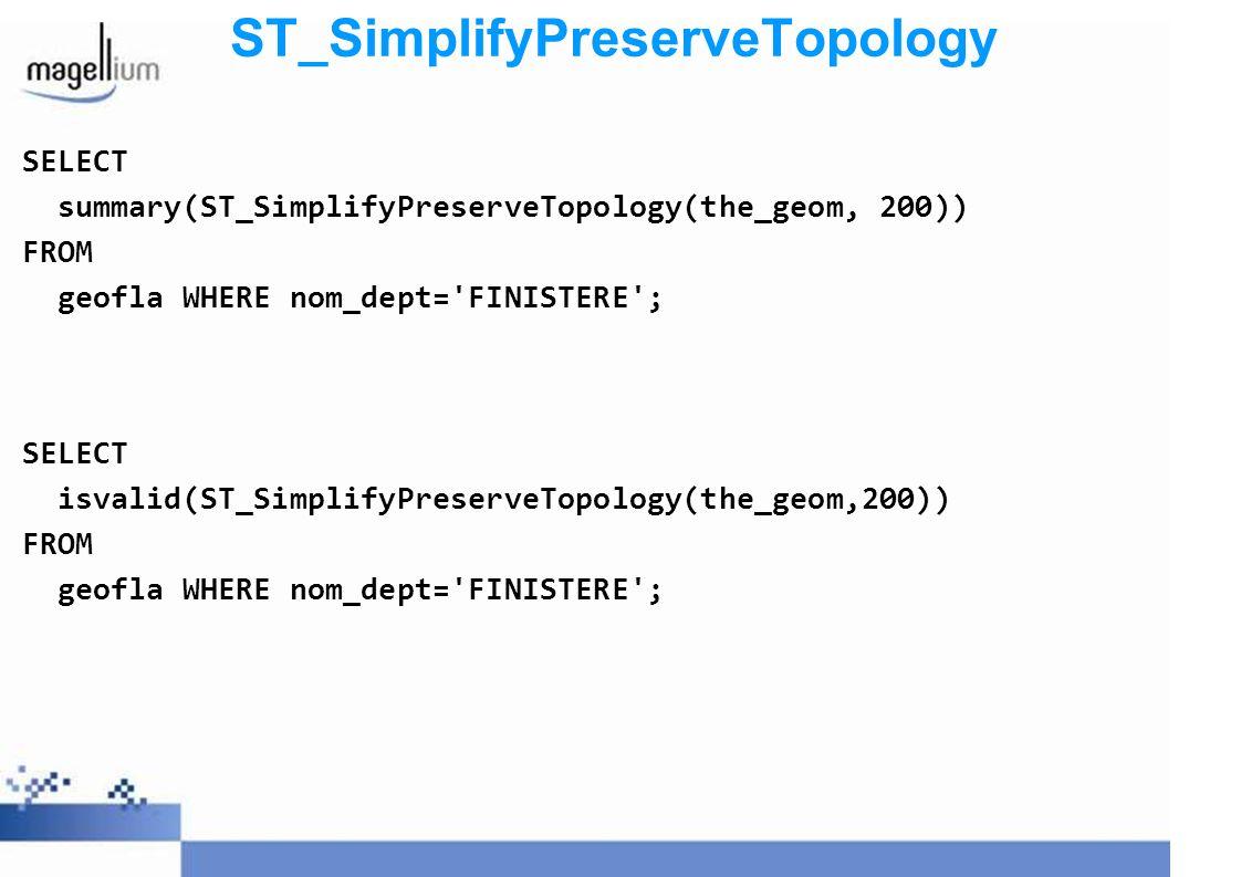 ST_SimplifyPreserveTopology: perspectives Dispo dans version 1.3.3 PostGIS A utiliser de manière préférentielle à simplify() pour des (multi)polygones Si besoin de préserver la topologie entre features, pas encore possibilité de le gérer à la volée (modèle spaghetti) Moulinette de Laurent Pierre disponible (site cartoweb.org addons)