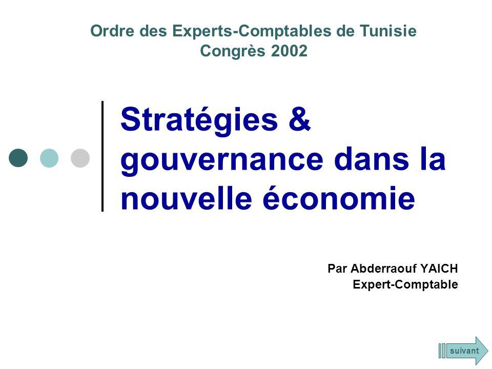 Stratégies & gouvernance dans la nouvelle économie Par Abderraouf YAICH Expert-Comptable Ordre des Experts-Comptables de Tunisie Congrès 2002 suivant
