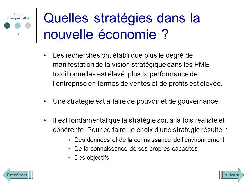 OECT Congrès 2002 17 Quelles stratégies dans la nouvelle économie .