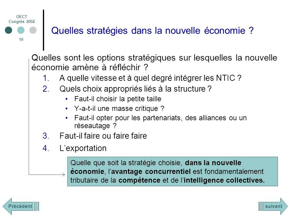 OECT Congrès 2002 19 Quelles stratégies dans la nouvelle économie .