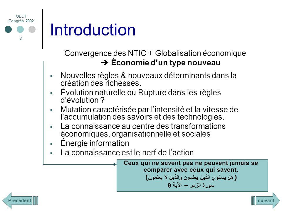 OECT Congrès 2002 2 Introduction Convergence des NTIC + Globalisation économique Économie dun type nouveau Nouvelles règles & nouveaux déterminants dans la création des richesses.