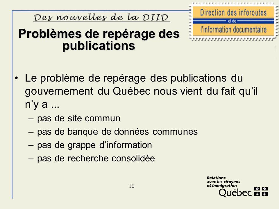 10 Problèmes de repérage des publications Le problème de repérage des publications du gouvernement du Québec nous vient du fait quil ny a... –pas de s