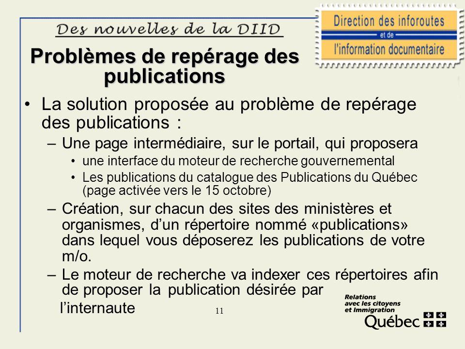11 Problèmes de repérage des publications La solution proposée au problème de repérage des publications : –Une page intermédiaire, sur le portail, qui