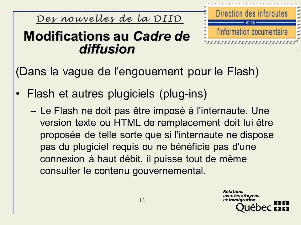 13 Modifications au Cadre de diffusion (Dans la vague de lengouement pour le Flash) Flash et autres plugiciels (plug-ins) –Le Flash ne doit pas être i