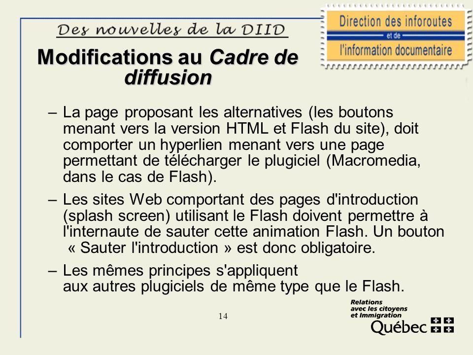 14 Modifications au Cadre de diffusion –La page proposant les alternatives (les boutons menant vers la version HTML et Flash du site), doit comporter