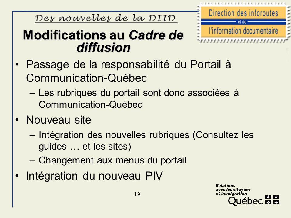 19 Modifications au Cadre de diffusion Passage de la responsabilité du Portail à Communication-Québec –Les rubriques du portail sont donc associées à