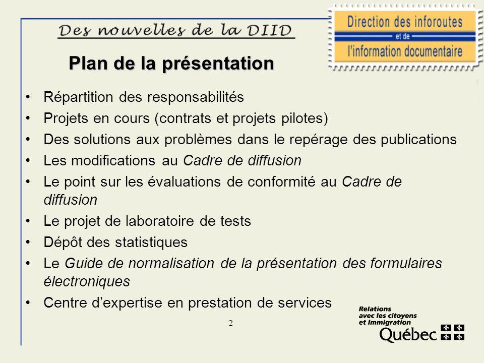 2 Plan de la présentation Répartition des responsabilités Projets en cours (contrats et projets pilotes) Des solutions aux problèmes dans le repérage