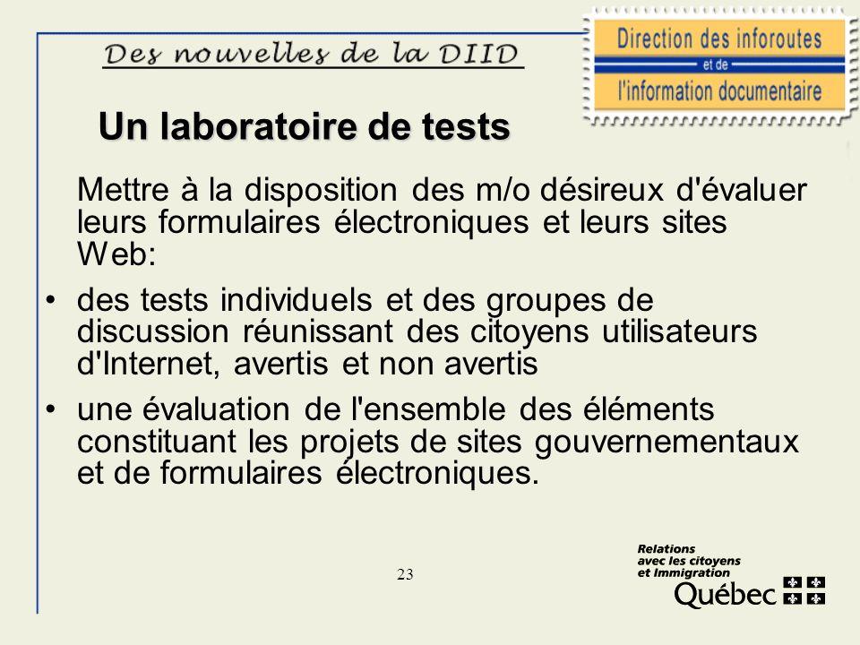 23 Un laboratoire de tests Mettre à la disposition des m/o désireux d'évaluer leurs formulaires électroniques et leurs sites Web: des tests individuel
